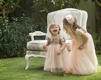 """Flower Girl Dress Tulle and Sequin - The """"Qeturah"""" in Apricot"""