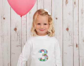 Kids Birthday Shirt | Appliqué Number t-shirt | Pink Rainbow Print Monogram Childs Shirt | Any LETTER or NUMBER!