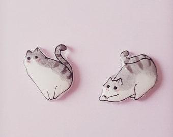 Cat earrings, Cat stud earrings, Cat jewellery, Earrings, Cat lovers,Crazy cat lady, Orange tabby, Grey tabby