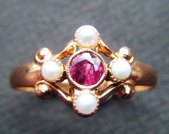 EDWARDIAN Engagement Ring Genuine Ruby Ring Art Deco Engagement Ring Pearl Rose Gold Engagement Ring Vintage Ruby Ring Promise Ring Gold