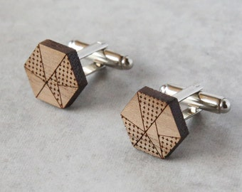 Geometric cufflinks, fathers day cufflinks, wooden cufflinks, design cufflinks, 5th year anniversary gift, laser cut wedding cufflinks