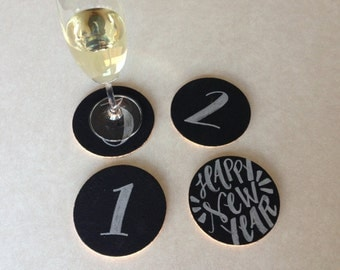 """Silver 3, 2, 1 New Year's Eve 4"""" Round Cork Coasters"""