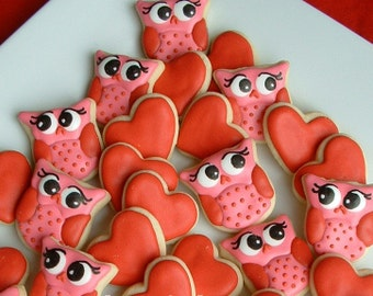 Valentines day - Owl cookies and Hearts - Valentine Cookies - 2 or 3 dozen MINI decorated cookies - FEATURED on Etsy Finds
