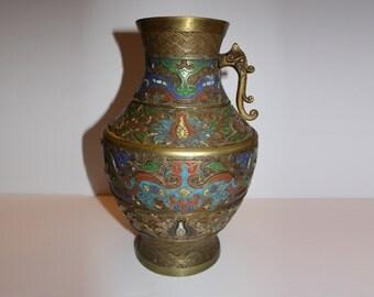 Antique Japanese Handled Metal Vase - Dragon Design - symbols, color, ornate art
