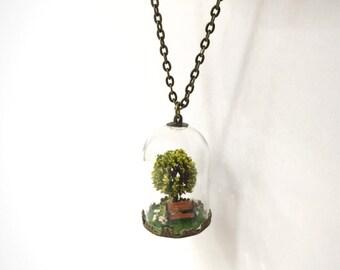 Terrarium necklace , Wish Tree of life terrarium live moss, Stones,  Bench