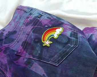 Tie Dyed Jeans - Purple & Blue - Rainbow - Womens Size 10 UK