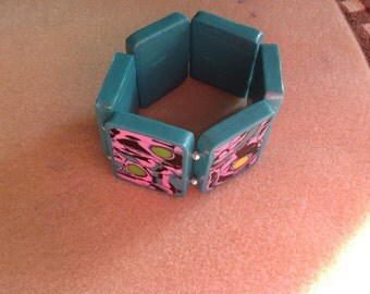 Totally Turquoise, Pink & Black Swirl Stretchy Bracelet