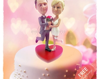 Funny wedding cake toppers Personalised cake topper Unique wedding cake toppers Custom cake topper Bride and groom cake toppers Minime dolls
