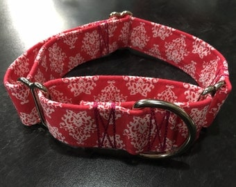 Pink and White Damask Martingale