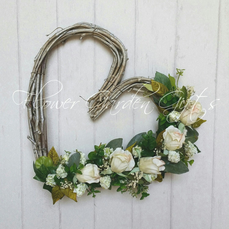 Flower Wreaths For Weddings: WEDDING HEART WREATH Wedding Flowers Ivory Flowers Bridal