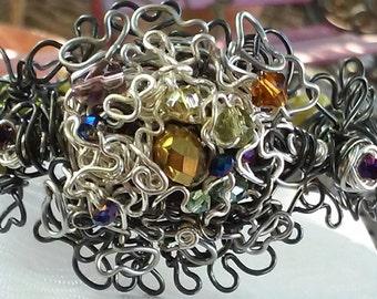"Wire Jewelry, Bracelet, Handmade- Serpentine, Crystal, Hematite, Silver, Design (L- 8.75"")"