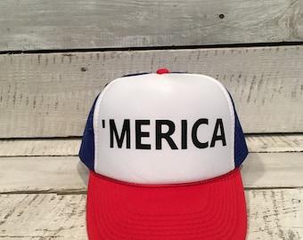 Merica Hat,'Merica hat, #Merica Hat, Merica, Merica Trucker Hat, #Merica, #Merica Trucker Hat, 4th of July hat