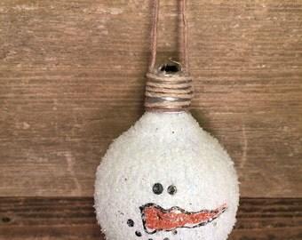 Snowman light bulb ornament, christmas ornament,seasonal ornament,glass light bulb ornament,repurposed light bulb ornament,snowman ornament
