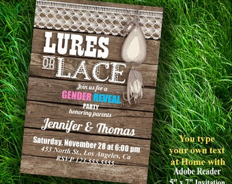 Gender Reveal invitation, Lures or Lace shower, couples shower, Editable Printable PDF file A464