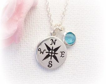 Silver compass, Silver Compass Necklace Personalized, compass jewellery, Compass  silver , Birthstone necklace,SFINCOM2, christmas gift