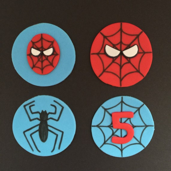 Fondant spiderman cupcake toppers - photo#8