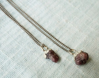 Raw Ruby and Silver Necklace