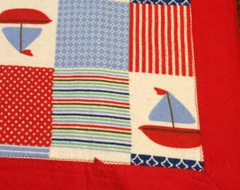 Sailboat Flannel Receiving Blanket