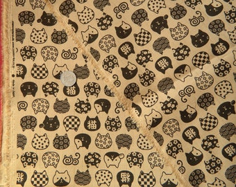 Cats On Natural By Cosmo Fabrics Japan