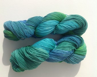 Luxury sock yarn,teal , green and turquoise shades , merino wool / silk sock yarn, hand dyed
