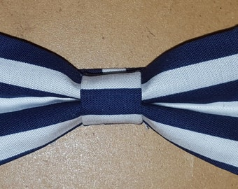 Navy and White Striped Bowtie for Toddlers, Boys, and Men