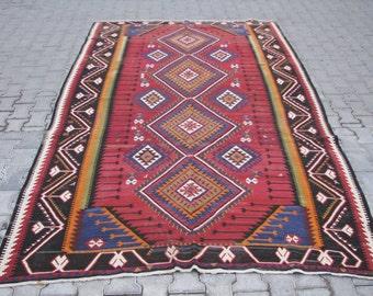 CAUCASIAN KILIM-KUBA Kilim-Large Caucasian Kilim-Collectable Kilim-Geometric Kilim-Oversize Kelim Rug-126''x78'' Kilim-320x199cm Kilim Rug