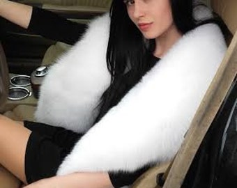 Real pure white fox fur stole .X-large.SagaFurs