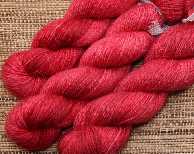 Hand dyed yarn - 50g Alpaca/Silk fingering weight in 'Amore' - With free cowl pattern