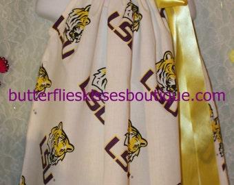 Handmade LSU pillowcase dress size 2T with head band