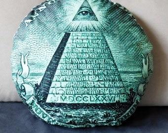 Illuminati pillow, dollar pillow, mason pillow, illuminati, mason pillow, masonry