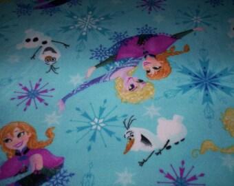 """1 throw 59"""" x 56"""" Olaf Anna Elsa blue soft and warm fleece nice size"""