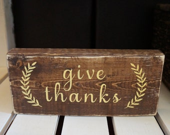 Give THANKS Wood Sign, Thanksgiving, Customize, Thanksgiving Sign, Handmade