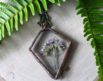 Pressed Flower In Glass, Glass Necklace, Purple Pressed Flower Necklace, Yarrow
