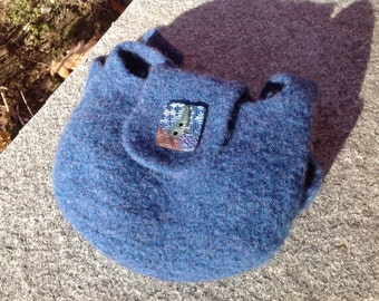 Hand-made, Renaissance Inspired, Felted, Wool, Bag, Purse with Polymer Clay Button
