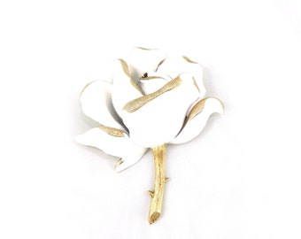 Trifari White Rose Brooch