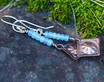 Hand stamped copper, glass bead and argentium silver earrings, handmade, silversmith, metalsmith, artisan, ergentium, rustic, organic