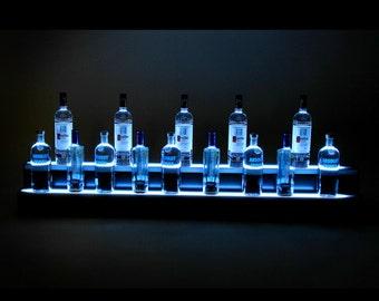 6Ft, 2 Step LED Light Shelf Tier, Bottle Step, Bar Bottle Organizer