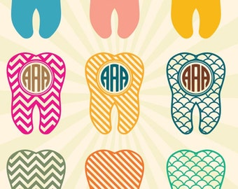 Tooth SVG Dentist SVG Monogram Frame, Tooth Monogram SVG Cut Files - Vector svg dxf eps png - Silhouette Cameo, Cricut, Transfer & other