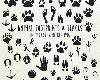 Animal Paw Print Clipart, Animal Tracks Clipart, Animal Tracks Clip Art, Paw Print Clip Art PNG EPS, AI Design Elements Instant Download