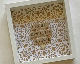 Personalised Scrabble Frame Wall Art Artwork Birthday Gift Present Home Decor Homewares