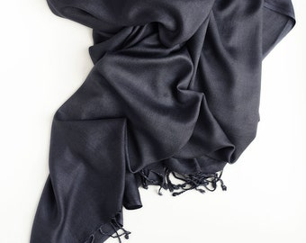 Anthracite long scarf, pashmina scarf, lightweight scarf, scarf with a matte sheen, plain anthracite scarf, gift for women