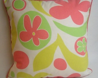 "Corded decorative pillow, 20"" square, large print, citrine, lime green, coral, white"
