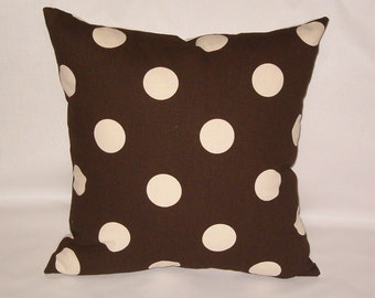 "Pair / 2 pillow covers, Brown and beige, polka dot pillow, 18"" square, brown cushion"
