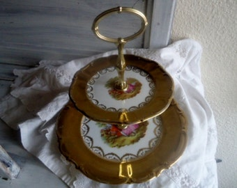 "Porcelain  tray with two  floors, antique ""tray-servant"" 50s,Waldsassen Bavaria "" Jahre Bareuthe"" porcelainr"