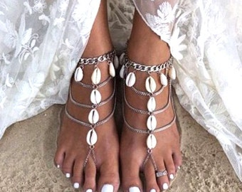 Anklet with Cowrie Shells or Coins and Barefoot Sandals with Cowrie Shells and Stones