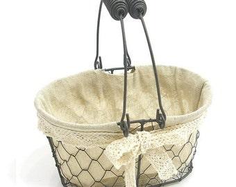 Wire basket with cloth, Rustic vintage basket with fixed handle, Metal basket, Farmhouse basket, Wedding basket, White Lace basket, basket