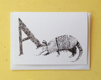 A for Armadillo Greeting Card