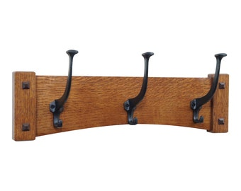 """18"""" Arched Mission Craftsman Wall Coat Rack with 3 Cast Iron Hooks"""