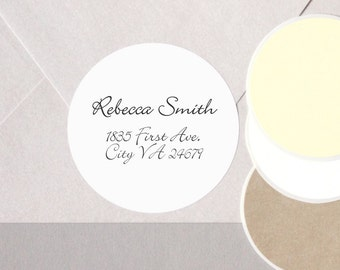 "cursive MODERN font return address label stickers minimalist personalized round labels 12 large 2.5"" or 20 medium 2"" envelope seals WHITE"