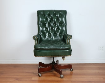 Hickory Leather Chesterfield Office Chair